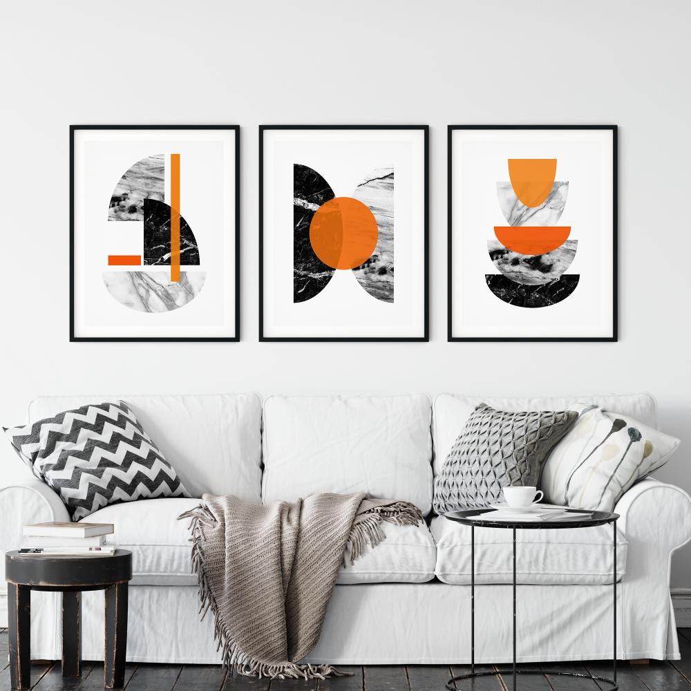 3pc Orange and Marble Wall Art Print Set