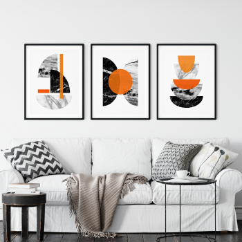 3pc Orange and Marble Wall Art Print Set