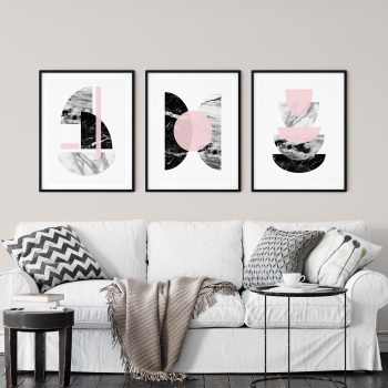 3pc Marble and Pink Wall Art Print Set