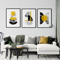 3pc Mustard and Marble Wall Art Print Set