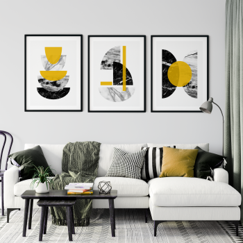 3pc Mustard and Marble Wall Art Print Set