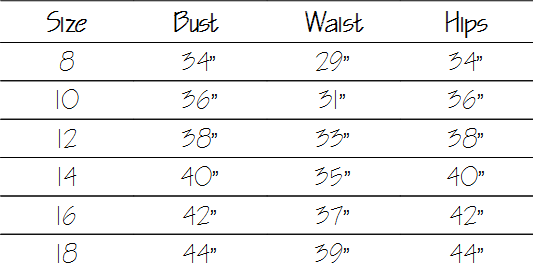 Size guide long sleeved breastfeeding tops