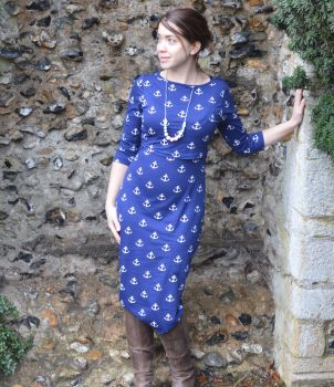 Midi Breastfeeding Dress in Nautical Anchors