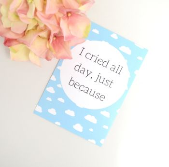 Funny Milestone Cards - Blue with white clouds