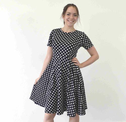 Breastfeeding Dress - Navy with White Spots LONGER LENGTH skater style Brea