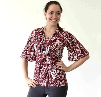 Breastfeeding Tops - Kimono breastfeeding tops in red speckle  EX PHOTOGRAPHY