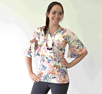 Breastfeeding Tops - Kimono breastfeeding top in cream florals