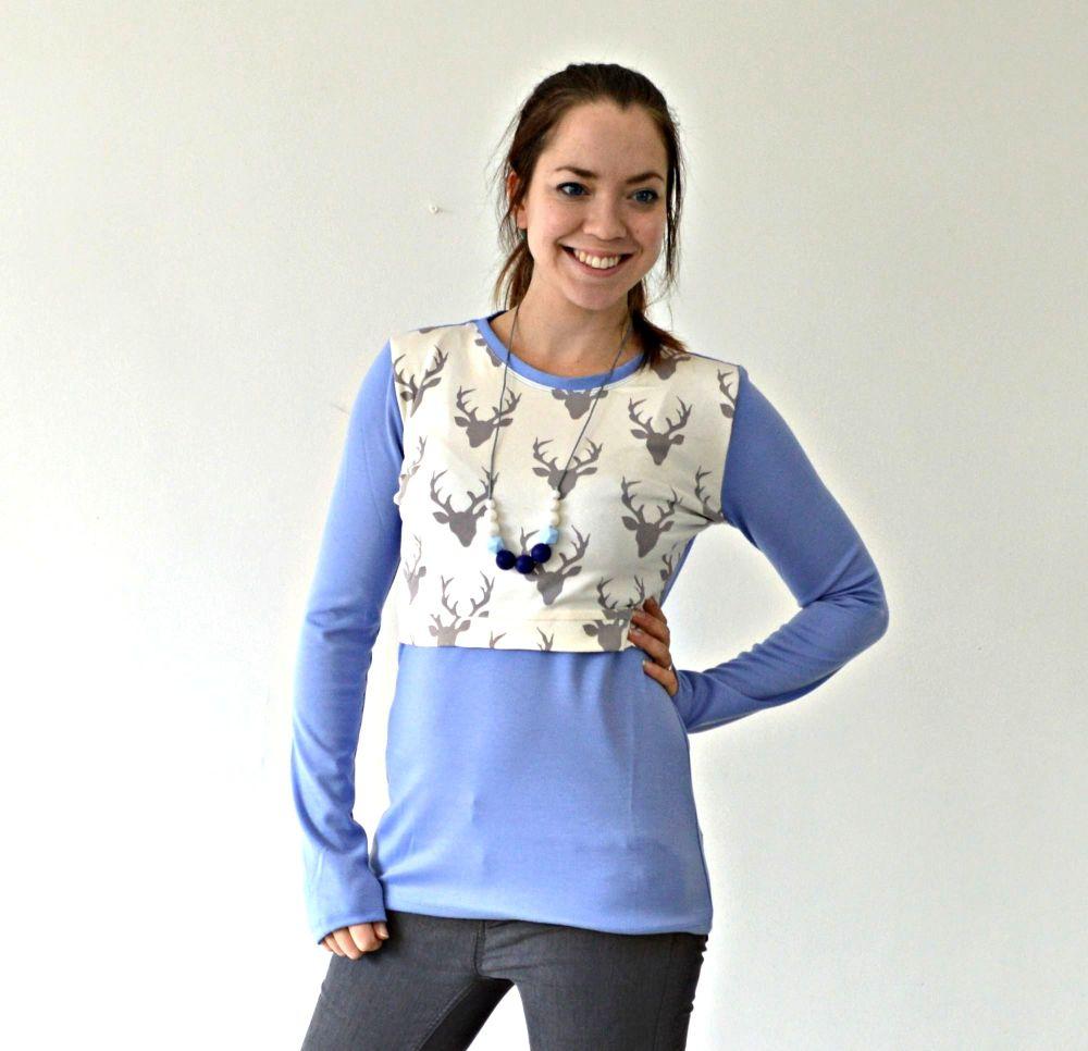 Breastfeeding Tops - Long Sleeved top in Balmoral Stag