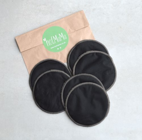 Reusable Bamboo Breast Pads - 3 Pairs - Black