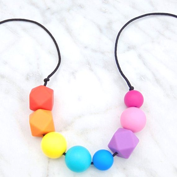 Lola Teething Necklace in Rainbo, Teething Necklace, Breastfeeding Necklace