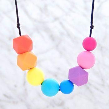 Lola Teething Necklace in Rainbow