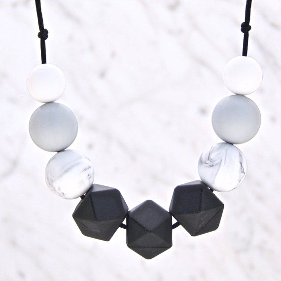 Cecelia Teething Necklace in Monochrome, Teething Necklace, Breastfeeding N