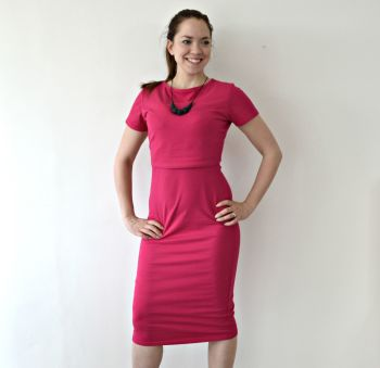 Midi Breastfeeding Dress in Raspberry Ex Photography