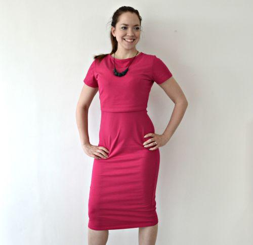 Midi Breastfeeding Dress in Raspberry Ex Photography