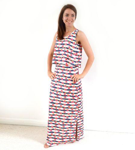 <!-- 003 -->Maxi Breastfeeding Dress in Floral Stripe