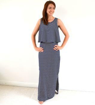 Maxi Breastfeeding Dress in Navy Stripe