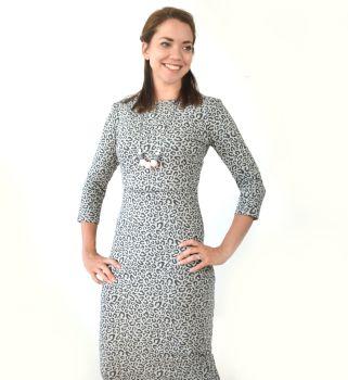 Midi Breastfeeding Dress in Leopard