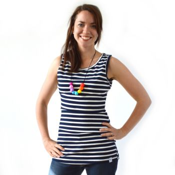 Breastfeeding Vest - Navy with Cream Stripe