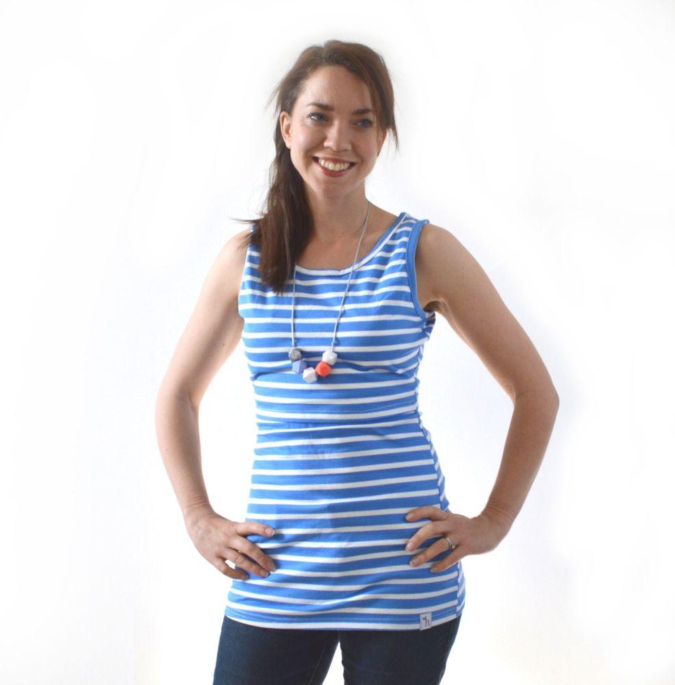 <!-- 050 -->Breastfeeding Vest - Sky Blue Stripe