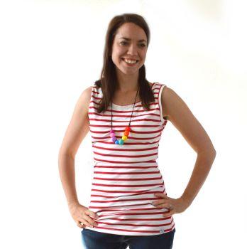 Breastfeeding Vest - White with Red Stripe