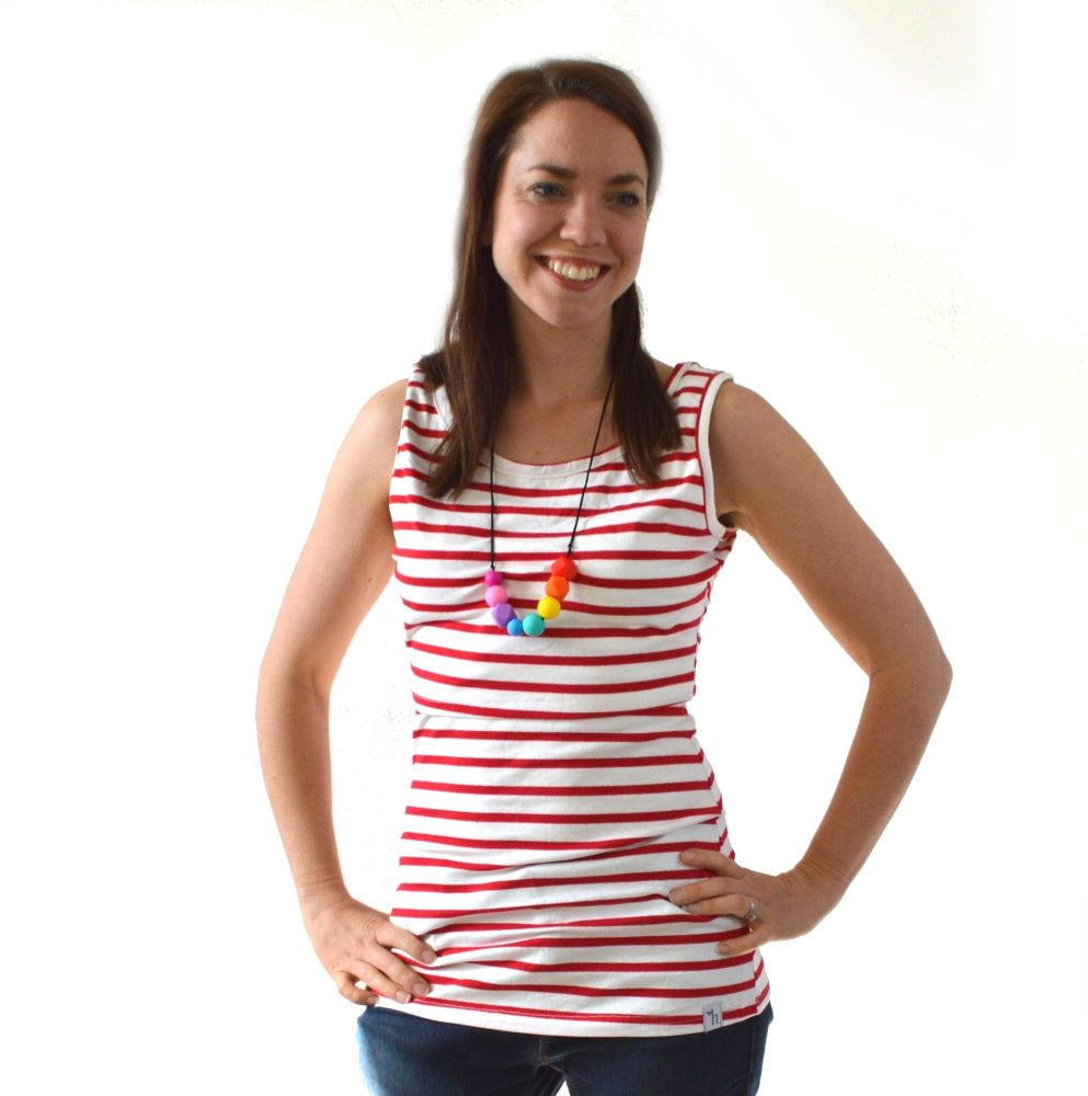 <!-- 051 -->Breastfeeding Vest - White with Red Stripe