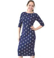 <!-- 101 -->Midi Breastfeeding Dress in Nautical Anchors
