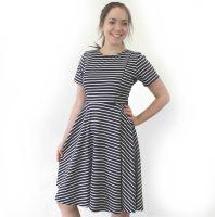 <!-- 140 -->Breastfeeding Dress - Navy Stripe LONGER LENGTH Skater Breastfeeding Dress