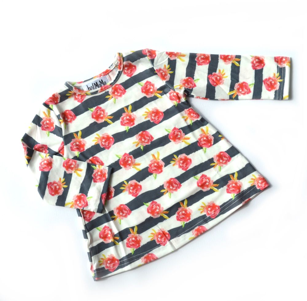 <!-- 005 -->Baby Dress - Floral Stripe