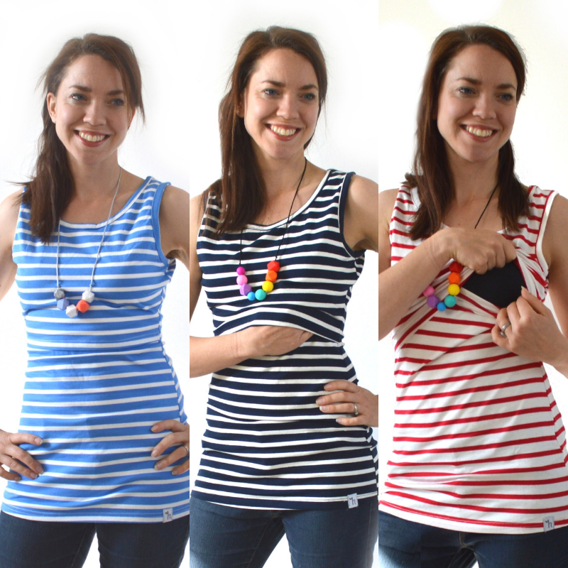 <!-- 052 -->Breastfeeding Vest - Navy, White with Red Stripe and Sky Blue S