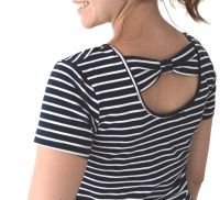<!-- 008 -->Breastfeeding Tunic Dress (Adult)- Navy and White Stripe