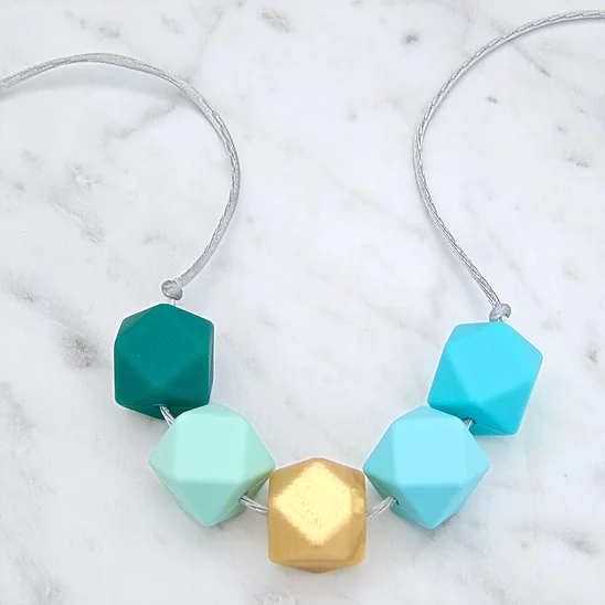 Lou Lou Teething Necklace in Sea Green