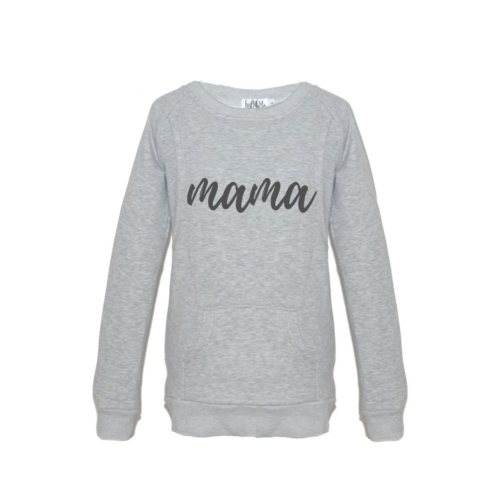<!-- 148 -->Mama print breastfeeding sweater in grey