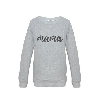 Mama print breastfeeding sweater in grey