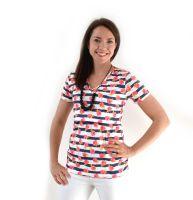 <!-- 002 -->Breastfeeding Tops -  Short sleeved Breastfeeding Top in Floral Stripe