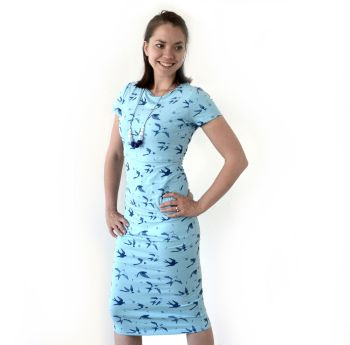Summer Breastfeeding Dress in Spring Swallows