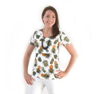 <!-- 171 -->Breastfeeding Tops -  Short sleeved Breastfeeding Top in Retro Pineapples