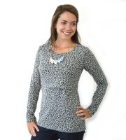 <!-- 190 -->Breastfeeding Tops -  Long Sleeved Breastfeeding Top in Leopard