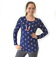 <!-- 191 -->Breastfeeding Tops -  Long Sleeved Breastfeeding Top in Nautical Anchors