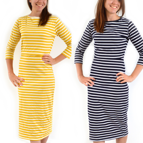 Multipack - 2 Midi Breastfeeding Dresses in Black Stripe and Yellow Stripe