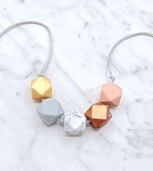 Lou Lou Teething Necklace in Gold, Copper and Pastels