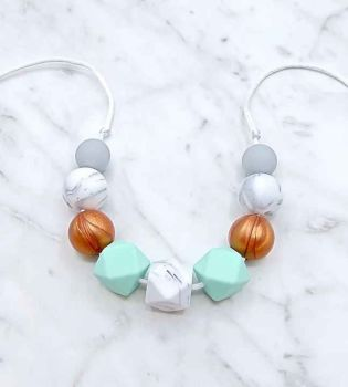 Cecelia Teething Necklace in Copper and Turquoise