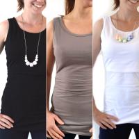 <!-- 043 -->Breastfeeding Vest - Multipack of 3 - Black, White Slate