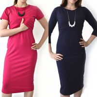 Multipack - 2 Midi Breastfeeding Dresses in Pink and Midnight Blue