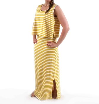 Maxi Breastfeeding Dress in Yellow Stripe