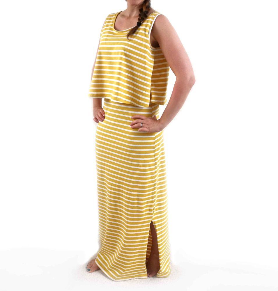 <!-- 008 -->Maxi Breastfeeding Dress in Yellow Stripe