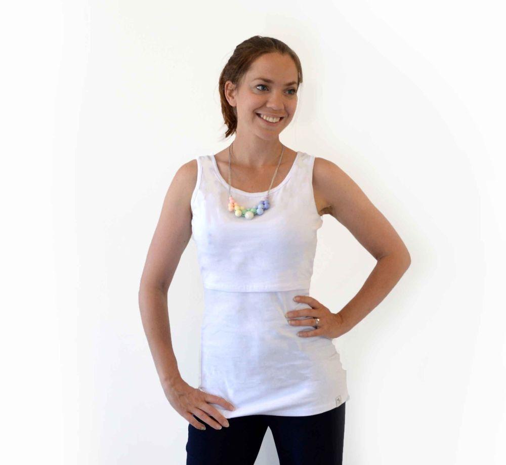 <!-- 042 -->Breastfeeding Vest - White