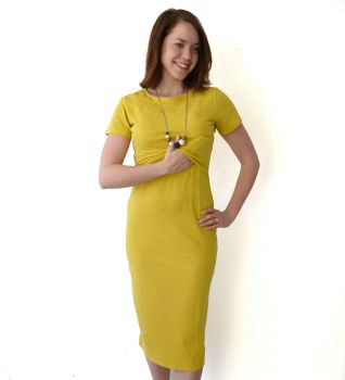 Midi Breastfeeding Dress in Mustard