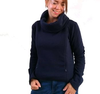 Cowl Neck Breastfeeding Jumper - Navy