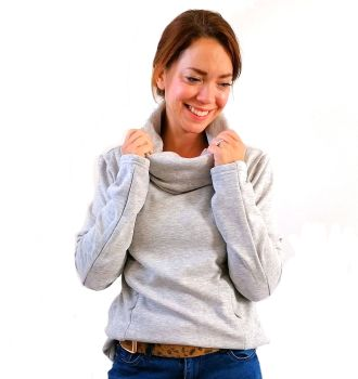 Cowl Neck Breastfeeding Jumper - Grey