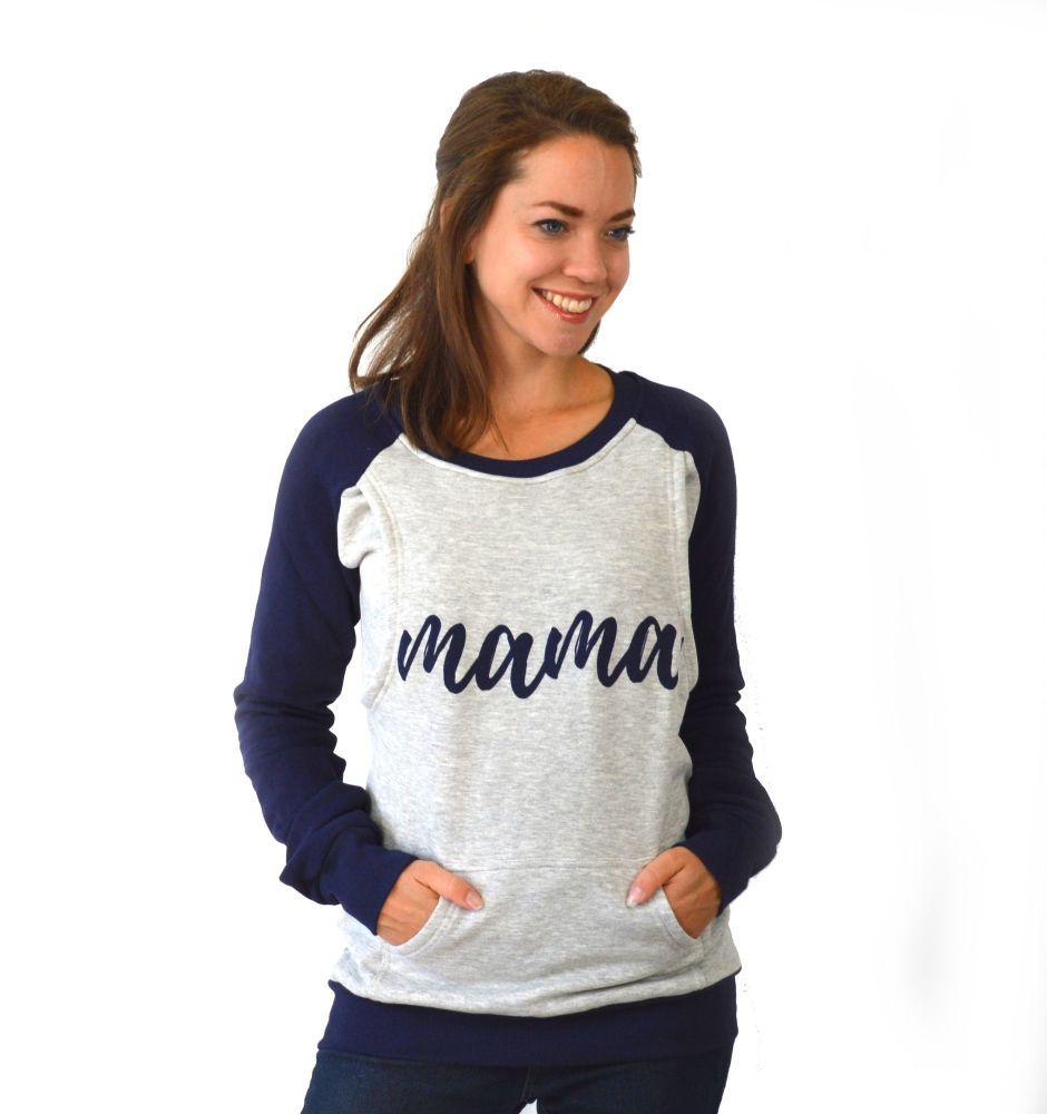 <!-- 023 -->Mama print breastfeeding sweater in navy and grey